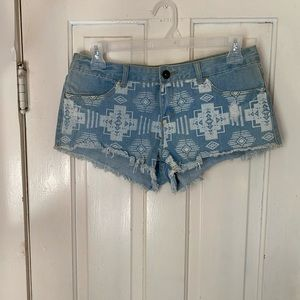 Aztec print jean shorts